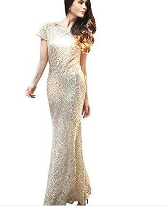 Clubdeer Women Sparkly Rose Gold Sequins Bridesmaid Sheath Dress  Prom Evening Formal Party Gowns d46de78a2b