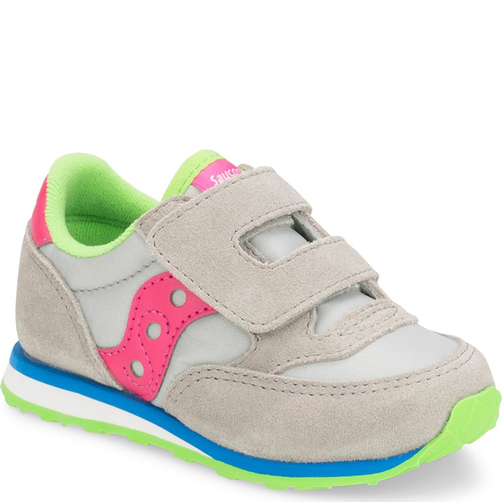 Saucony Baby Jazz Hook & Loop Sneaker Big Kid 10.5 Grey/Pink
