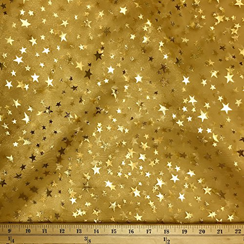 Sparkle Organza Fabric (Crystal Organza Printed Stars Fabric Sparkle Shiny Crafts Decorations 60