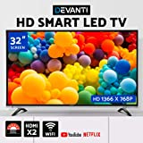 "DEVANTI Smart LED TV 32"" Inch HD LCD Slim Thin Screen Easy Access to Netflix YouTube 16:9 1366 X 768P Dolby Surround Sound - Black"