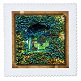 3dRose Ivy and Stained Glass - Quilt Square, 12 by 12-Inch (qs_31513_4)
