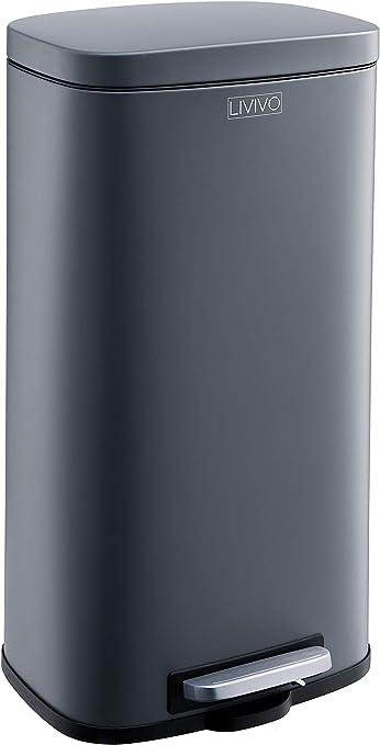 d/échets de jardin et compost 60L plastique papier canettes LIVIVO Poubelle de recyclage /él/égante en acier inoxydable 50 l avec p/édale pour d/échets en verre 3 COMPARTMENT Argent/é satin/é