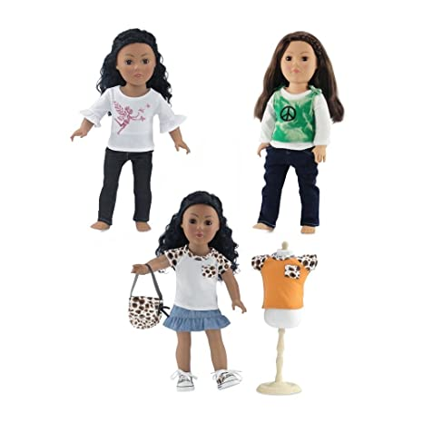 18 inch Doll Clothes | Value Bundle Set of 3 Doll Outfits, Including Jeans Outfit with Graphic Tee, Jean Skirt Outfit with Purse and Sneakers, and