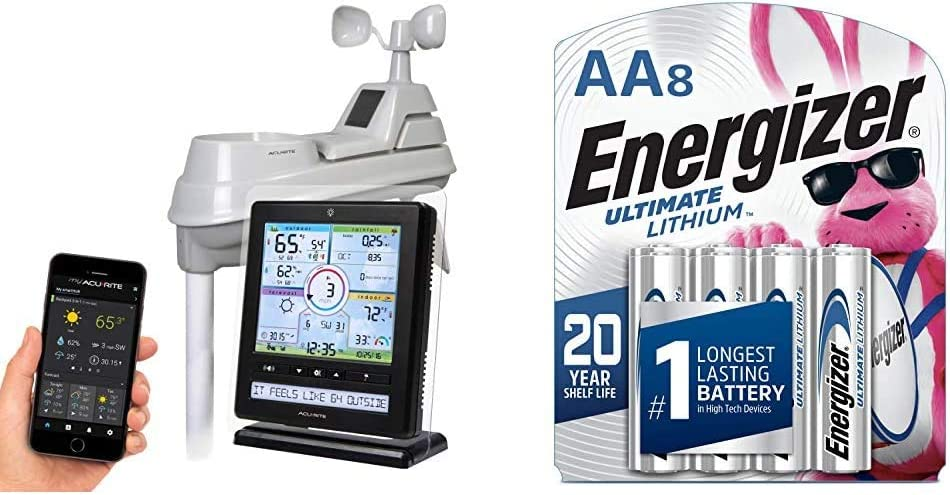 AcuRite Wireless Home Station (01536) with 5-1 Sensor and Android iPhone Weather Monitoring & Energizer AA Lithium Batteries, Ultimate Lithium (8 Battery Count)