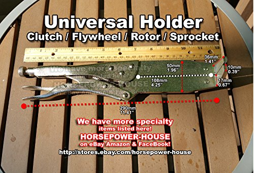 (Adjustable Universal Clutch Boss Hub Holder Flywheel Holding Tool Sprocket Hold Very Useful Versatile Fits Many Different Powersport Applications Honda Suzuki Yamaha Kawasaki KTM Arctic Cat Polaris More)