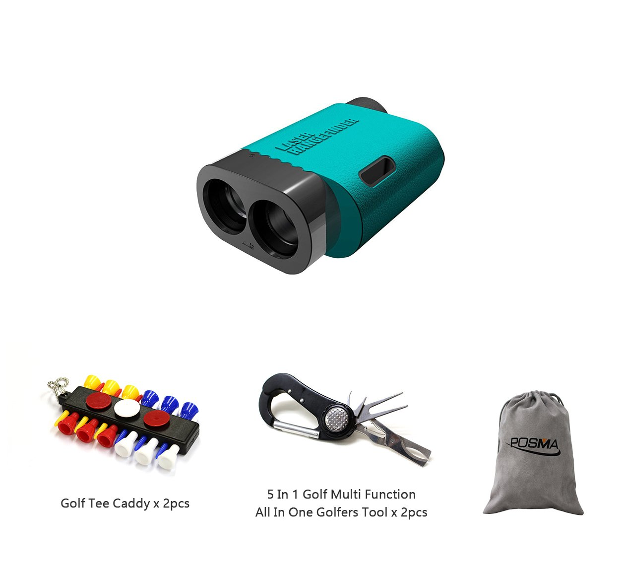 POSMA GF300D New Golf Rangefinder Bundle Set With 2pcs tee caddy + 2pcs 5 In 1 Golf Multi Function All In One Golfers Tool + 1pc Flannel Storage Bag by POSMA (Image #1)
