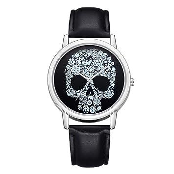 saihui marca nuevo diseño de calaveras de moda de lujo correa de cuero redondo de cuarzo analógico reloj de pulsera Relojes, B: Amazon.es: Deportes y aire ...