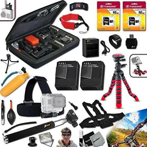 """Xtech PROFESSIONAL Accessories KIT for GoPro HERO4 Hero 4 Digital Camera Includes a Head Strap Mount, Chest Strap Mount, Hand Held Monopod, 32GB High Speed Memory Cards, 12"""" inch Flexible Tripod, Floating Bobber Handle, 2 AHDBT-401 Batteries, Quick Dual Charger, Custom Large size Case + Floating Foam Strap + Remote Wrist Strap + Universal Card Reader + Mini Table Tripod + Ultra Fine HeroFiber Cleaning Cloth"""