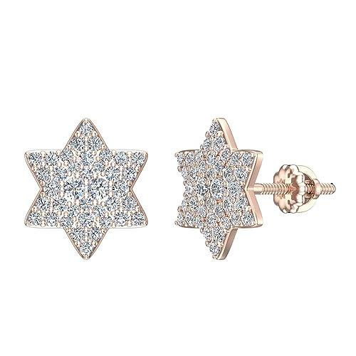 47dd73afa Diamond Earrings Star of David 6 Point Shape Cluster Studs 18K Rose Gold -  Screw Back Posts (0.50 carat total): Amazon.ca: Jewelry