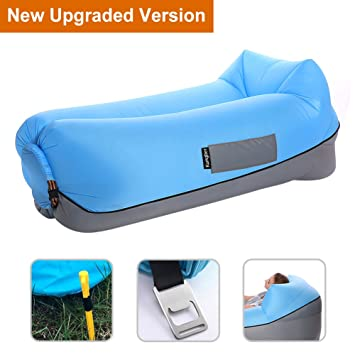 Inflatable Lounger Air Sofa With Pillow Portable Couch Bed Waterproof Sleeping Bag Easy To Inflate Large