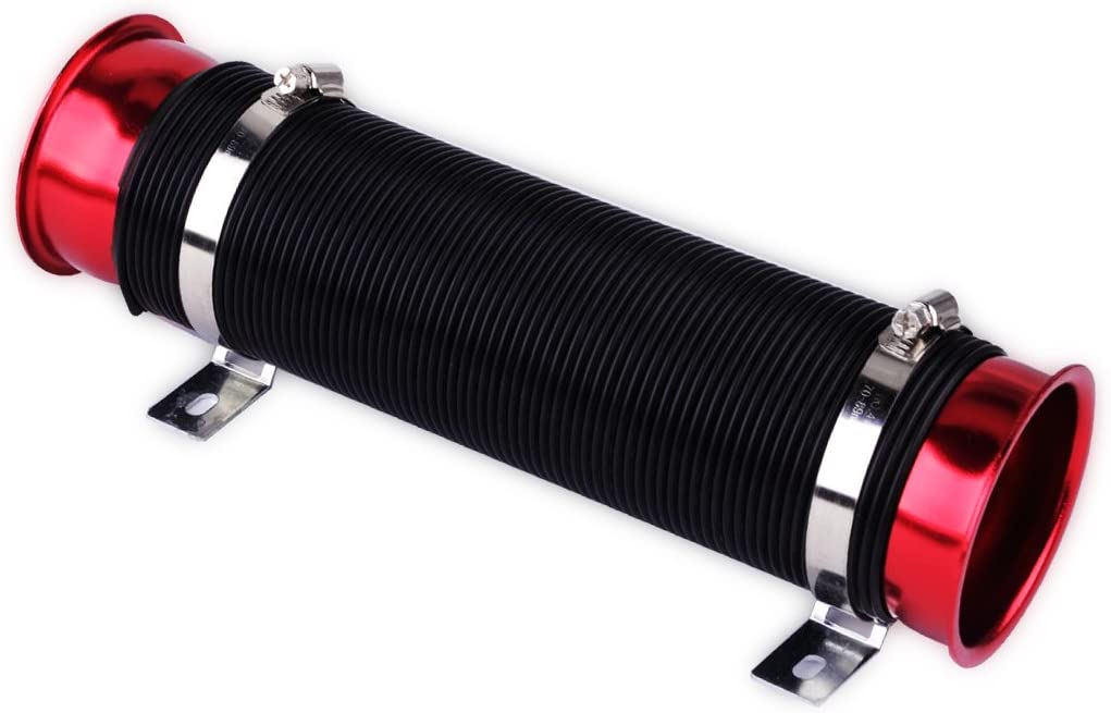 beler Blue /& Black Adjustable 3 inch Car Cylinder Cold Air Intake Pipe Inlet Hose Tube Duct