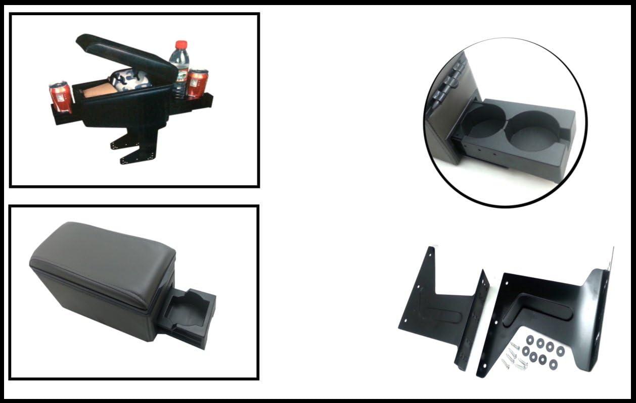 Accoudoir console centrale universel en cuir noir pour Opel Vectra Astra Corsa NEUF