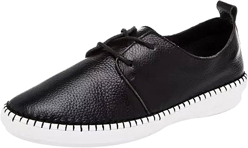 Jamron Mujer Suave Cuero con Cordones Plano Cómodo Hospital Zapatos de Enfermeria Negro J1006 EU38.5