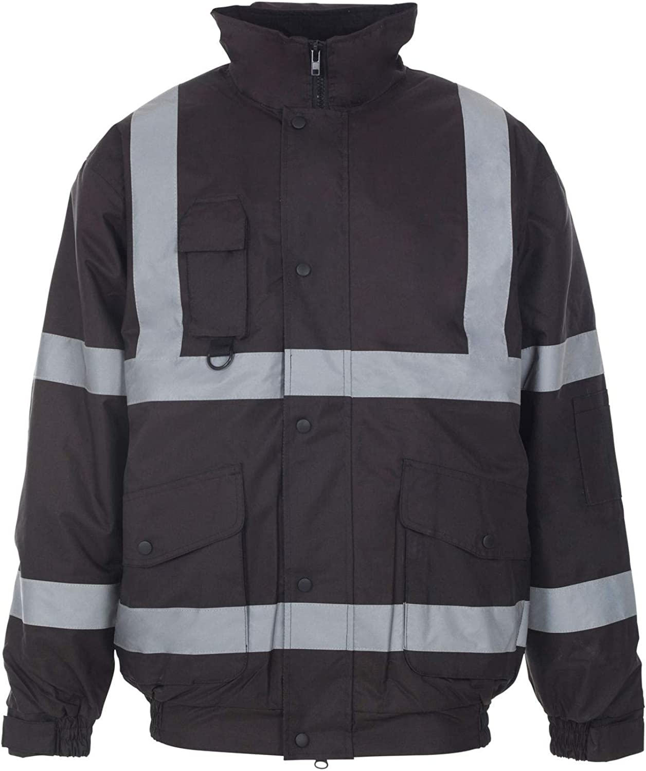 Hi Viz Bomber Jacket Two Tone Reflective Tape Waterproof Quilted Work Jacket Coat High Vis Visibility Safety Workwear Security Road Works Concealed Hood Fluorescent Flashing Top Size S-4XL