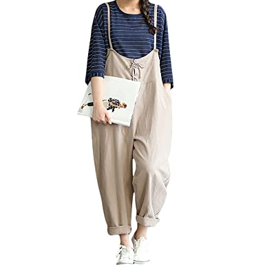 377f4eacaf23 Helisopus Women s Baggy Adjustable Strap Sleeveless Plus Size Linen  Overalls Jumpsuits Casual Loose Wide Leg Rompers