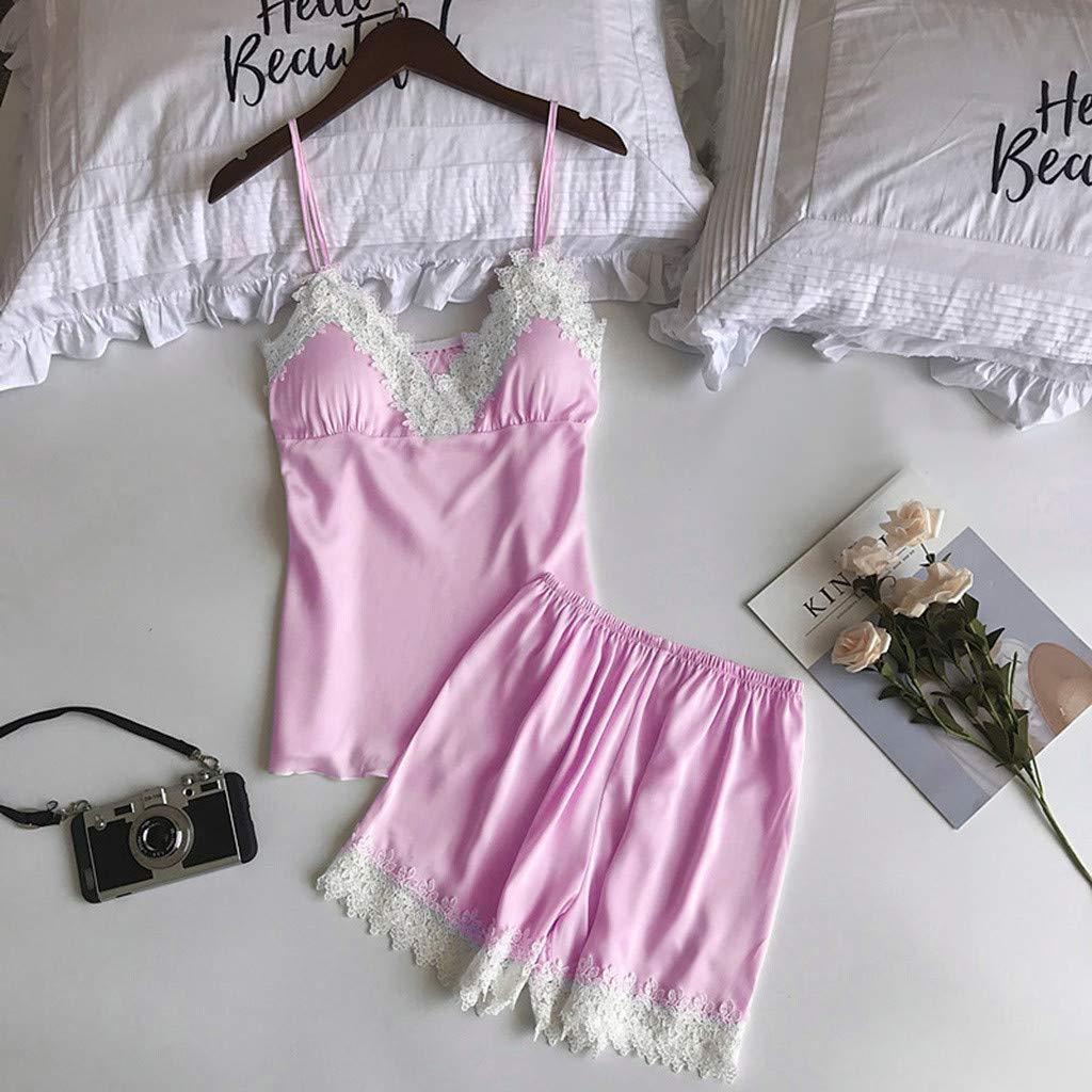 Conjunto de Pijamas Verano Mujer Dos Piezas Pijama de Encaje Blanca Bata de Tiras Finas con Calzoncillos Ropa de Dormir Camisola Floral Traje de Talla Grande Lencer/ía