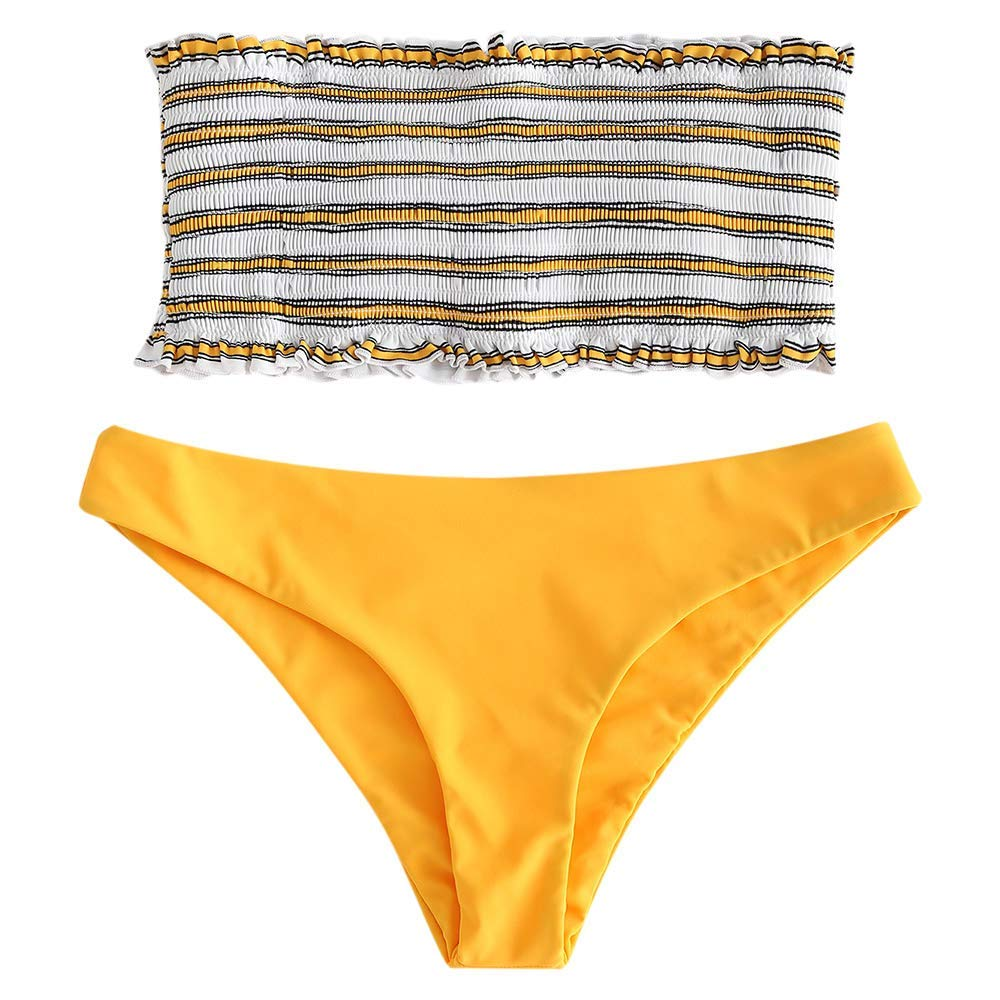 UMIPUBO Traje de Ba/ño Mujer Bikini Bandeau Ba/ñadores Push-up Acolchado Bra Bikini Set Bandage Conjunto de 2 PCS Ropa de Ba/ño