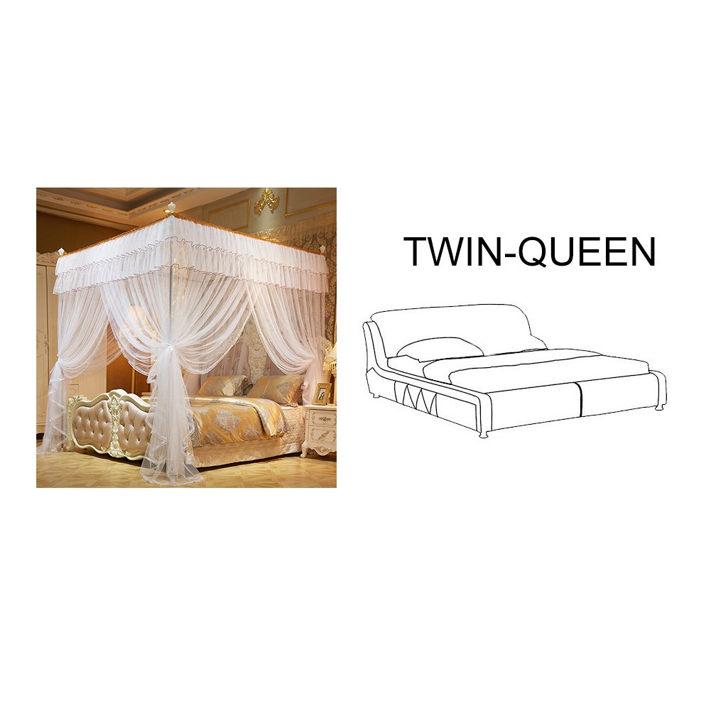 White 78.74x59.05x78.74 Inches Full Queen Size Bed Canopy 4 Corner Post Bed Canopy Princess Queen Mosquito Net