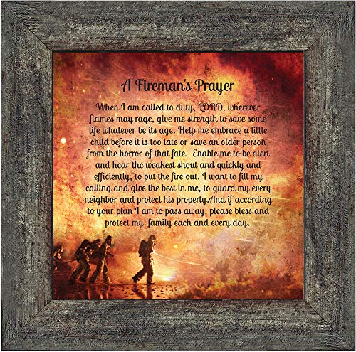 Elegantly Yours Fireman's Prayer, Picture Frame for Firefighter Gifts,10x10 8650BW