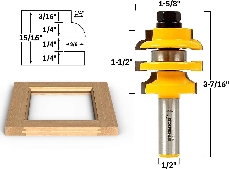 1//2-1//2 Shank Cutting Depth Cutting Height Yonico 15225-2 Bit Edge Banding Router Bit Set,V Design 1