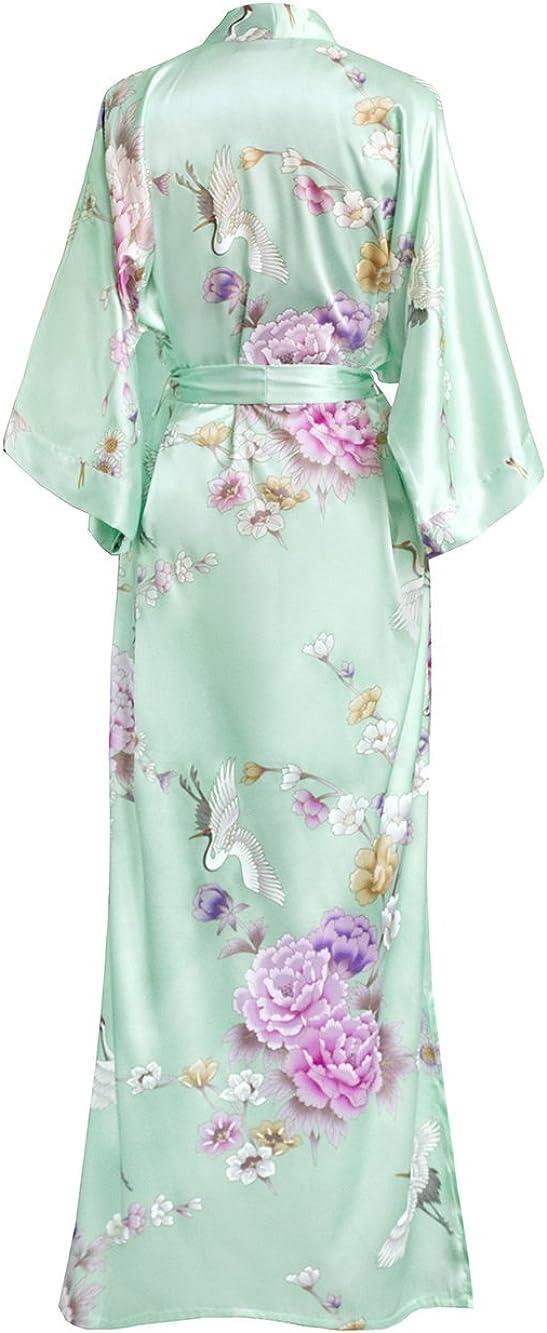 Floral Womens Satin Kimono Robe Long