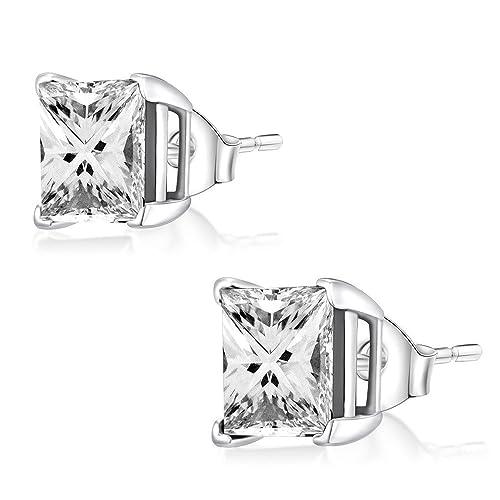 Ohr-Stecker Ohrringe 925er Silber Schmuck, Eckig Zirkonia Weiß   3 – 8 mm