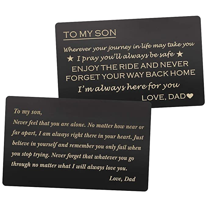 Engraved Wallet Cards Gift for Son from Dad, Stainless Steel Wallet Insert,  Mini Love Note - Son Dad Gifts, Birthday Gifts Graduation Gifts Christmas
