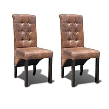 Vidaxl 2x Chaise De Salle A Manger Marron Chaise A Manger Chaise De Cuisine