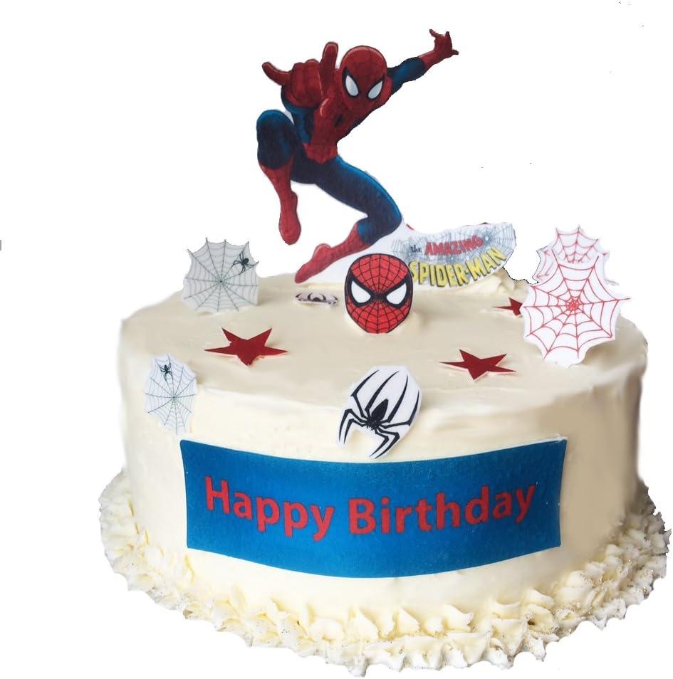Astounding Stand Up Spiderman Happy Birthday Scene Premium Edible Wafer Paper Funny Birthday Cards Online Unhofree Goldxyz