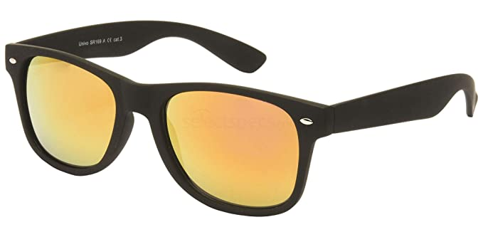 6eb5f4dda8a Black Wayfarer Sunglasses With Mirrored Yellow Lens + FREE Case   Amazon.co.uk  Clothing