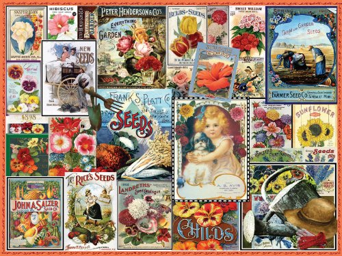 White Mountain Puzzles Vintage Flower Seeds - 550 Piece Jigsaw Puzzle