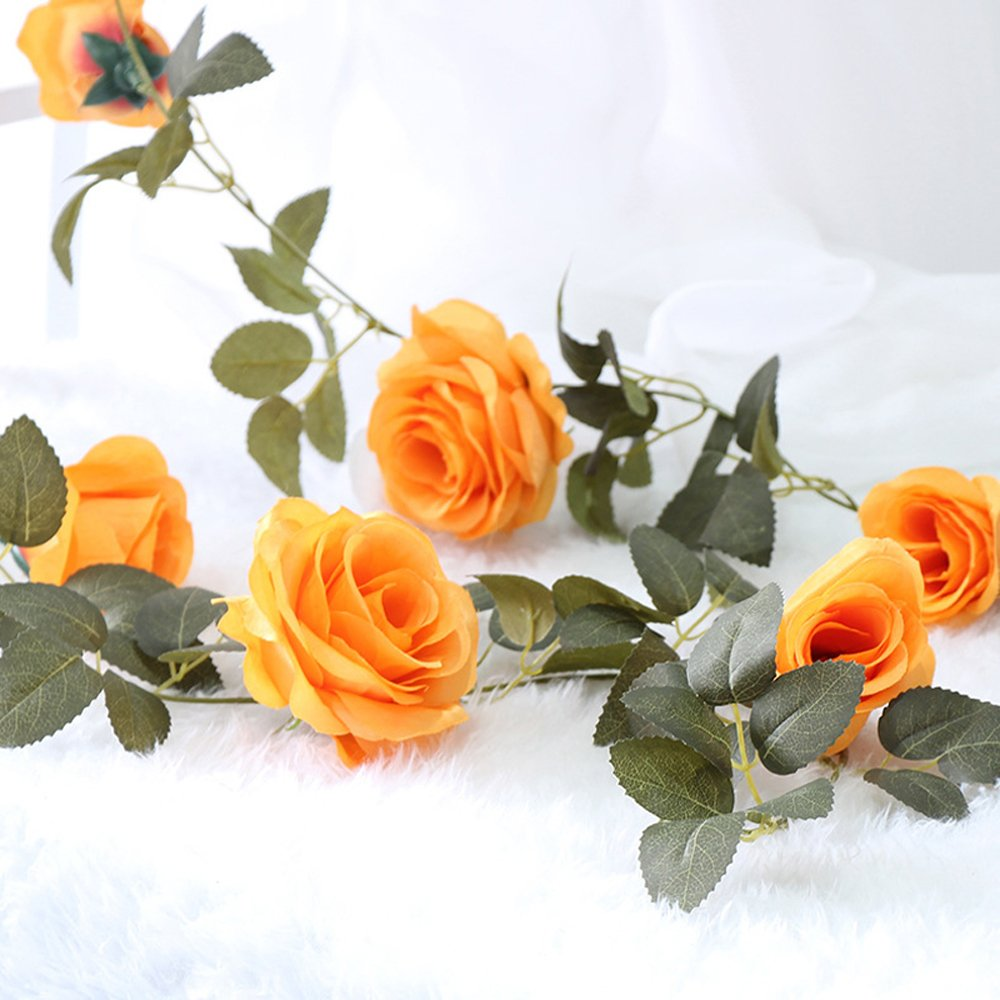 Mi Guoer 3 Vines in oneあまた10 Big Roses in one Vine人工花VinesのプラスチックVines、ローズウェディングCentrepieces Countyard装飾(オレンジ) B07CL3CXMQ