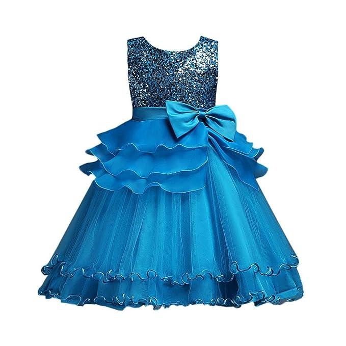 Lonshell ❤️Vestido para Niñas Vestido Sin mangas de Lentejuelas de Gasa de Fiesta Vestido de