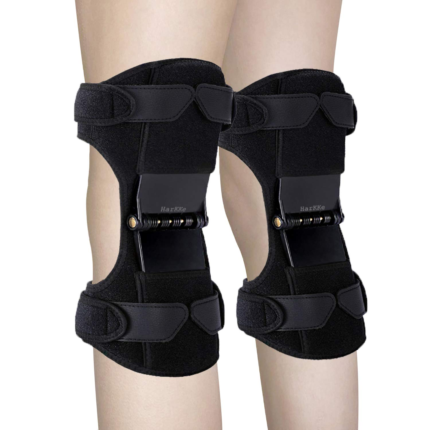 Knee Support Pads, 2020 Upgrade Power Knee Stabilizer Pads Knee Brace with 4 Powerful Springs, Breathable Protective Booster Gear for Men Women Training Squat Preventing Excessive Knee Flexion
