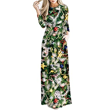 928bab2098e VECDY Women Christmas Tree Santa Claus Elk Hat Long Sleeve Swing Party  Dress Mature Fashion Trend Wild Maxi Skirt  Amazon.co.uk  Clothing