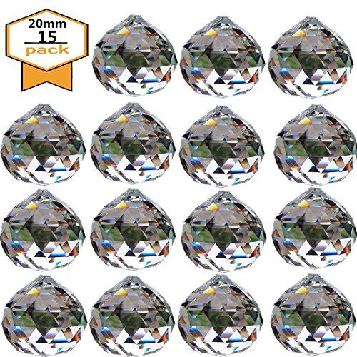 Yoker 20mm Chandelier Clear Crystal Ball Prisms Pendant Feng Shui Suncatcher Decorating Hanging Faceted Prism Balls (Pack of 15) (Prisms Crystal Teardrop)