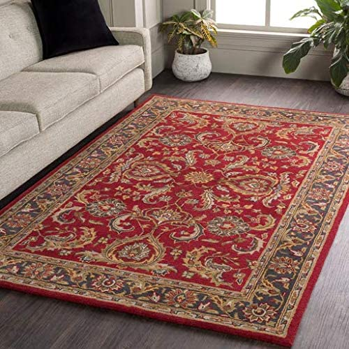 Hankamer 5' x 8' Rectangle Traditional 100 Wool Bright Red/Charcoal/Mustard/Dark Brown/Olive/Tan/Ivory/Aqua Area Rug