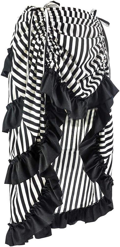 Qbuds Adjustable Ruffle High Low Gothic Skirt Plus Size Long Vintage Fishtail Steampunk Corset Skirt Long Dress for Women Blackwhite