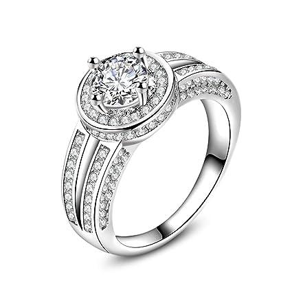 Skyllc Moda de cristal de oro blanco plateado anillo de diamantes Zircon clásico anillo de matrimonio