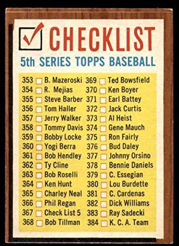 1962 Topps #367 Checklist 353-429 Very Good