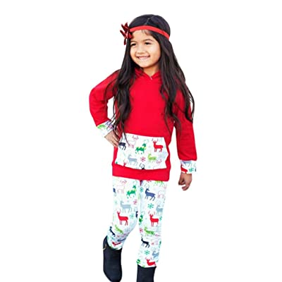 Boys Girls Christmas Print Deer Tops+ Pants Outfits Clothes Set By HITRAS