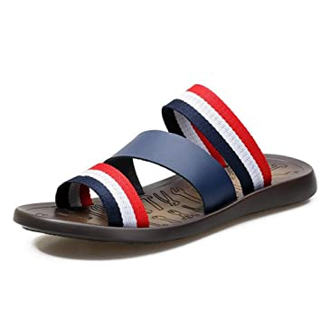 47525048262566 Men Shoes Genuine Leather Strap Sandals Beach Summer Open Toe Flip Flops  Casual Slippers Non-