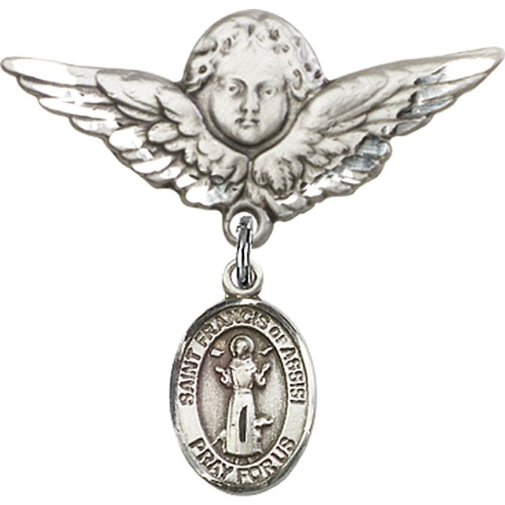Francis of Assisi Charm and Angel w//Wings Badge Pin 7//8 X 3//4 inches Sterling Silver Baby Badge with St