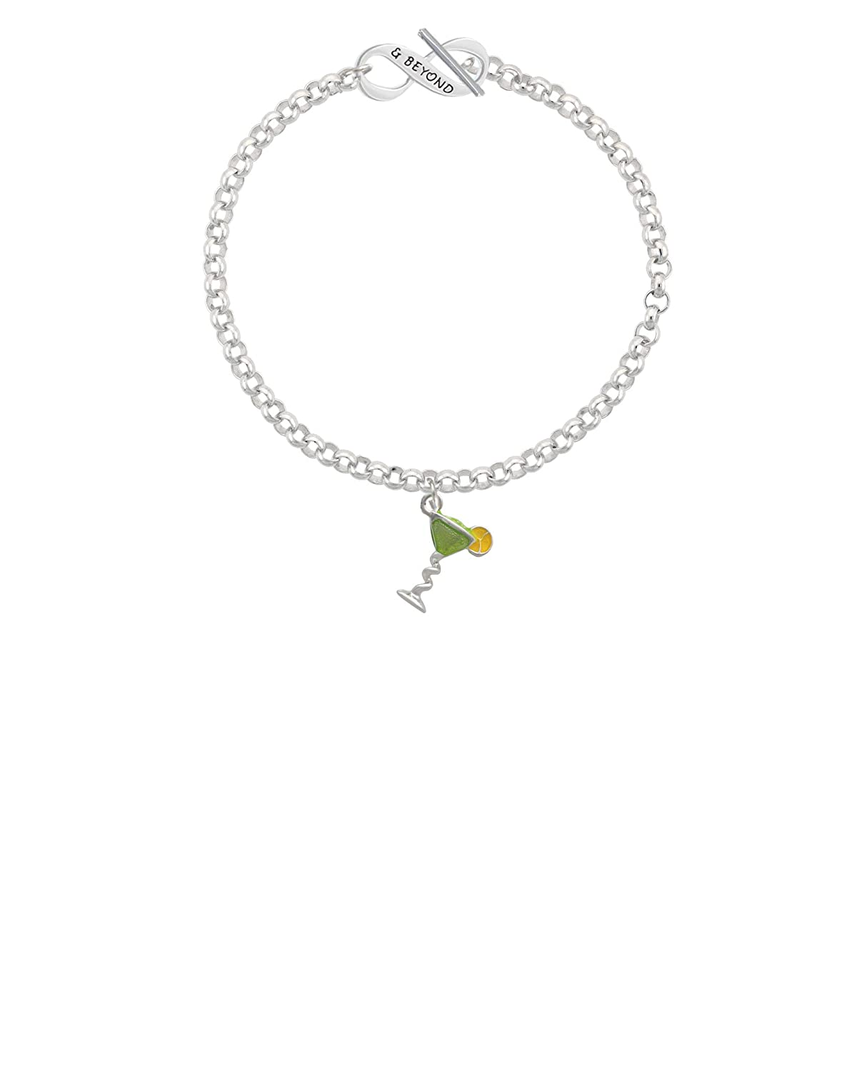 Lime Green /& Beyond Infinity Toggle Chain Bracelet 8 Delight Jewelry Silvertone Tropical Drink