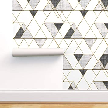 Spoonflower Peel And Stick Removable Wallpaper Mod Triangles Black And White Grayscale Monochrome Gold Look Texture Geometric Print Self Adhesive Wallpaper 12in X 24in Test Swatch Amazon Com