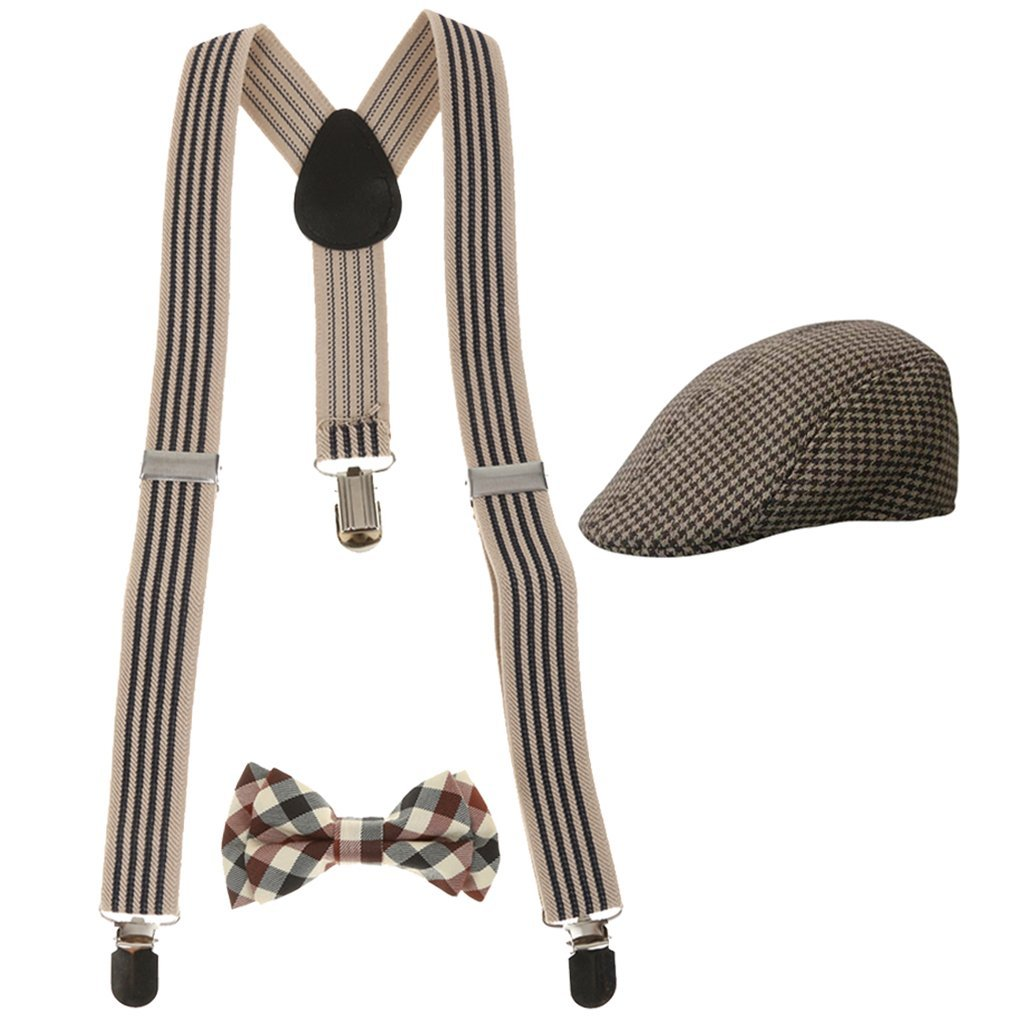 Baoblaze Kids Boys Girls Stretchble Y-back Suspender Bowtie +Beret Cap Flat Hat Set