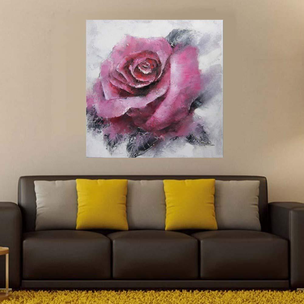 WHUI Ölgemälde Abstraktes purpurrotes handgemaltes Ölgemälde Rose Rose, das auf dem Segeltuch hängt, das bereit ist, an der Wand Badezimmer-Wohnzimmer zu hängen