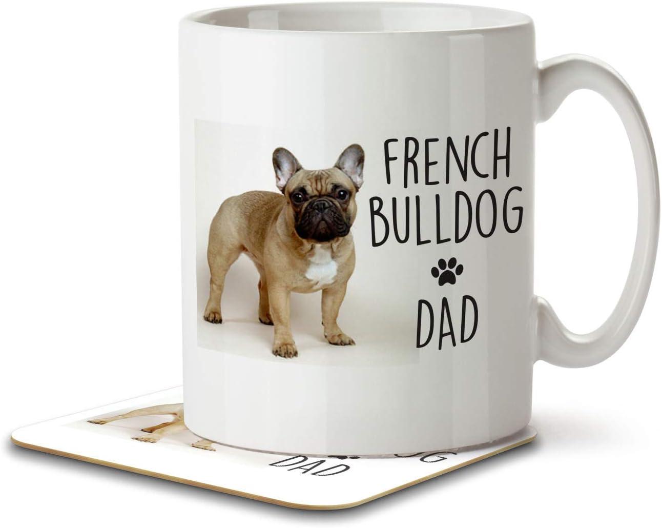 French Bulldog Dad Mug And Coaster By Inky Penguin Amazon Co Uk Kitchen Home