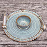 "Pottery Handmade Party Platter with Dip Bowl. 9"" Diameter Serving Plate with Celtic Spiral Logo. Original Irish Design Hand-Glazed for Durability and Quality of Finish"