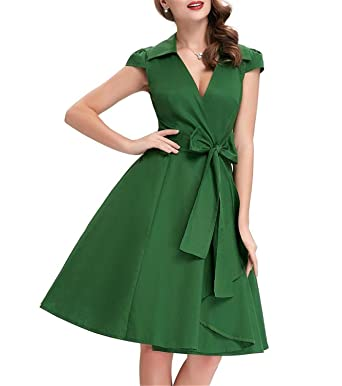 ae25309ffb Image Unavailable. Image not available for. Color  Kateirmaso Women Summer  Dresses Office Robe Vintage 50S 60S Pin Up Big Swing ...